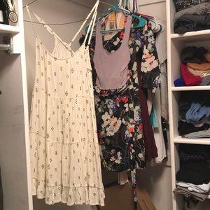 Off white with black pattern swing dress xs